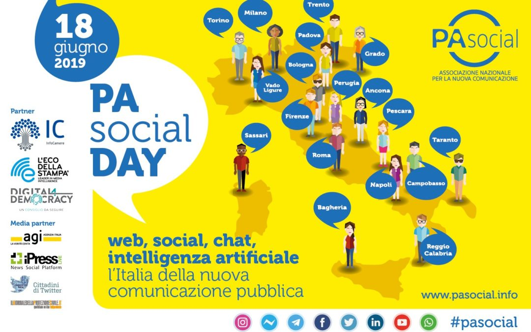 """Martedì 18 giugno, diciotto città a livello internazionale saranno impegnate in contemporanea sui temi della nuova comunicazione, qualil'innovazione digitale della salute e dell'ambiente. Sarà ilPA Social Day con l'iniziativa """"Be social, [...]"""