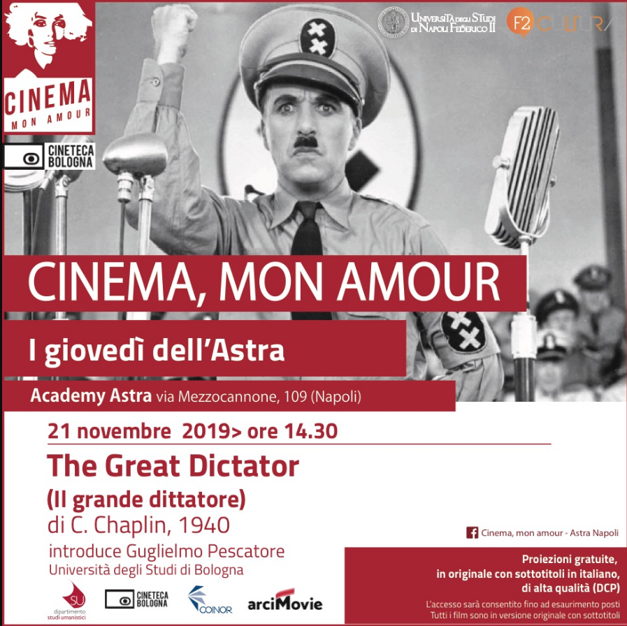Torna un altro imperdibile appuntamento con il cinema. Il capolavoro di Charlie Chaplin, 'Il grande dittatore', del1940, affresco amaro della dittatura hitleriana. Il film sarà proiettatogiovedì 21 novembre alle 14.30 al [...]
